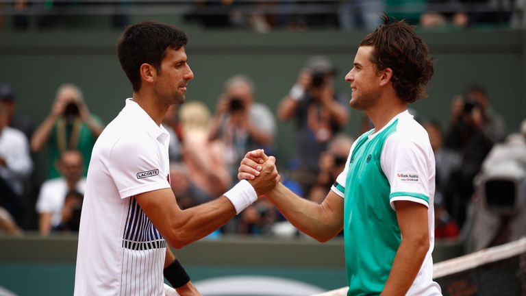 Thiem upset Djokovic in the French Open quarters before losing to Rafael Nadal in the semi-finals
