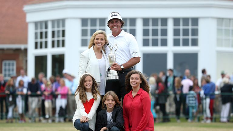Phil Mickelson celebrates his maiden Open triumph in 2013