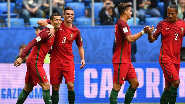 Ronaldo (left) celebrates with Pepe