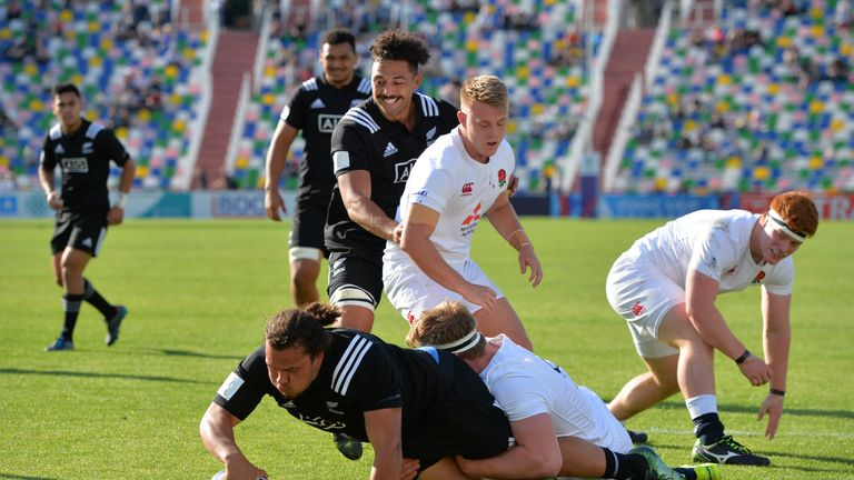 Pouri Rakete-Stones  scores for New Zealand during the final of the World Rugby U20 Championship