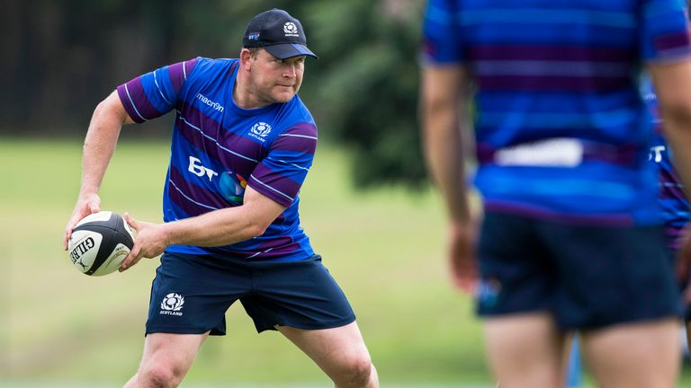 Scotland prop WP Nel in training