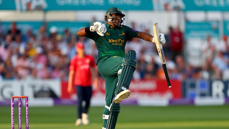 Samit Patel celebrates firing Notts to the One-Day Cup Final