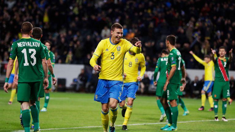 Lindelof celebrates after finding the net for Sweden