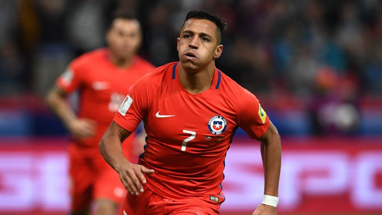 Chile's forward Alexis Sanchez reacts after scoring