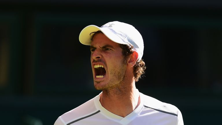 Andy Murray of Great Britain reacts in his Gentlemens Singles first round match against Mikhail Kukushkin of Kazakhstan