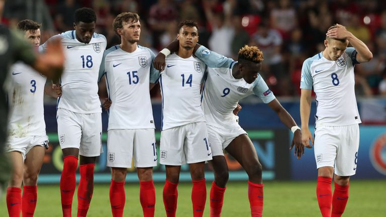 England players look dejected after Nathan Redmond missed  his penalty meaning England go out of the UEFA European Under-21 Championship, Semi Final match