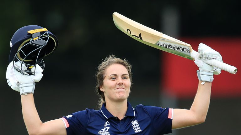 England's Natalie Sciver celebrates reaching 100 runs during the ICC Women's World Cup match against Pakistan