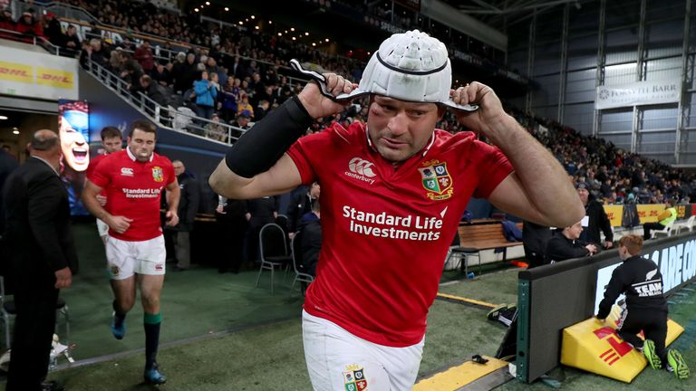 Lions' Rory Best takes to the pitch.