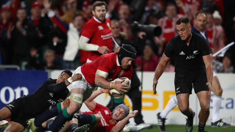 AUCKLAND, NEW ZEALAND - JUNE 24:  Sean O'Brien of the Lions dives over to score his team's first try during the first test match between the New Zealand Al