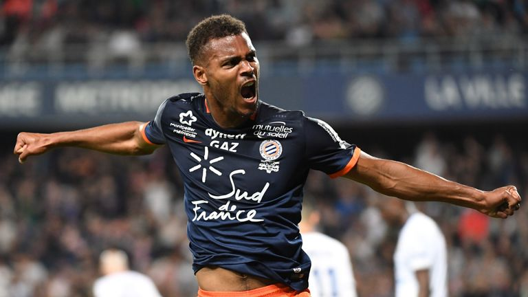 Montpellier's French forward Steve Mounié reacts after scoring a goal during the French L1 football match between Montpellier (MHSC) and Lyon (OL), on May