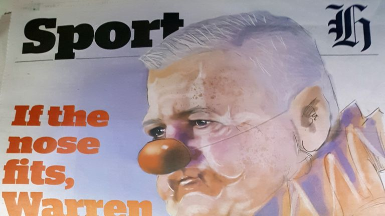 The front page of the New Zealand Herald which depicts British and Irish Lions head coach Warren Gatland as a clown