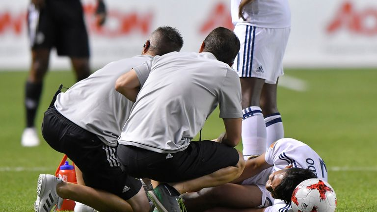 Valencia later took out Saucedo, with the Real Salt Lake player leaving Rio Tinto Stadium on crutches as a result