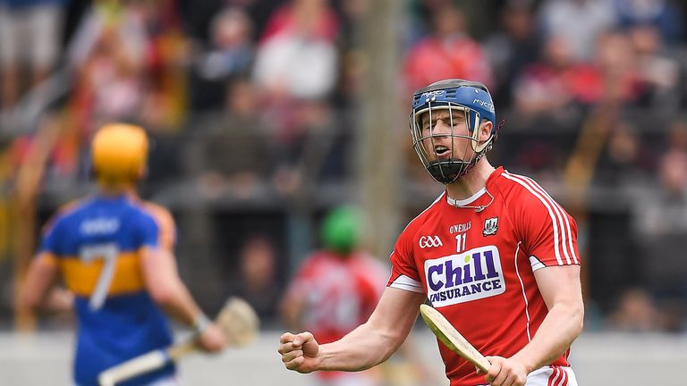 Conor Lehane of Cork celebrates a score against Tipperary in the Munster championship