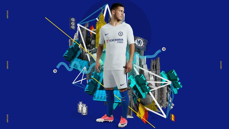 Eden Hazard models the away kit  (Credit: Nike)