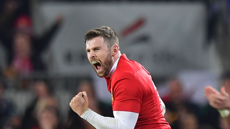 Elliot Daly celebrates kicking a penalty for the Lions against New Zealand