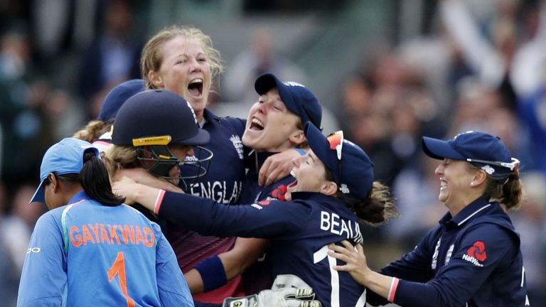 England celebrating after they beat India by 7 runs in front of a home crowd at Lords