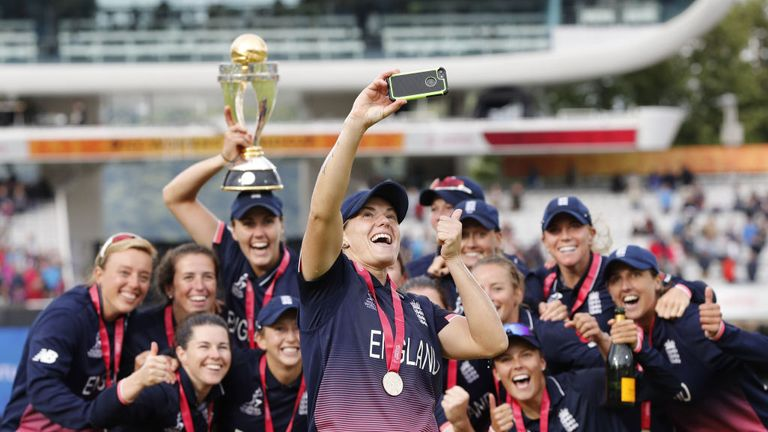 England Women celebrate their World Cup win at Lord's in July