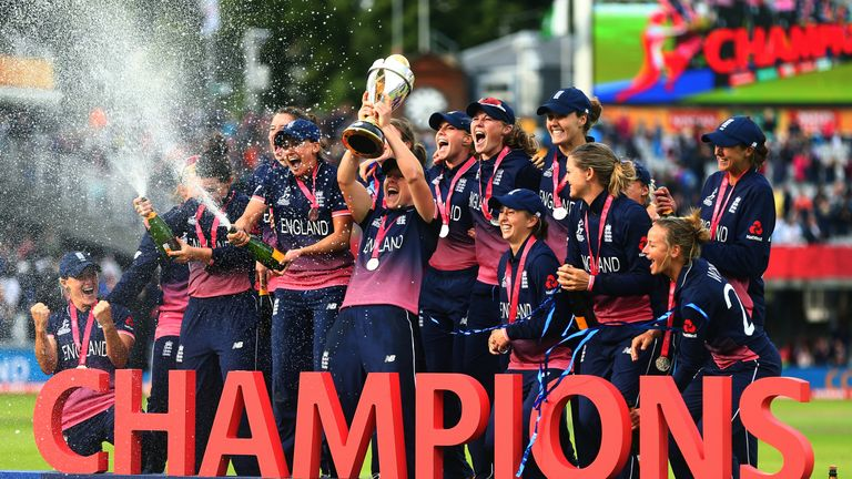England  lift the ICC Women's World Cup trophy after beating India at Lord's
