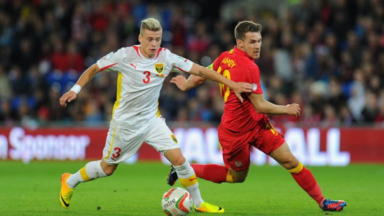 Macedonia striker Ezgjan Alioski playing against Wales in 2014 World Cup Qualifier