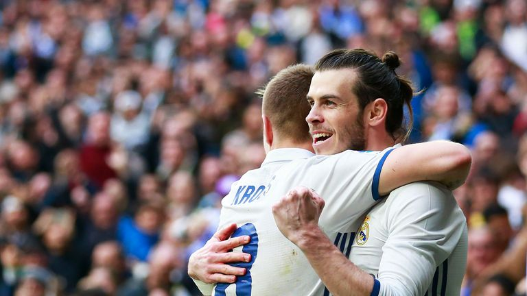 Gareth Bale celebrates scoring for Real Madrid with team-mate Toni Kroos