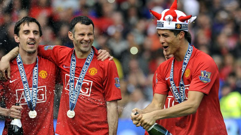 Gary Neville, Giggs and Ronaldo celebrate United's title triumph in 2009