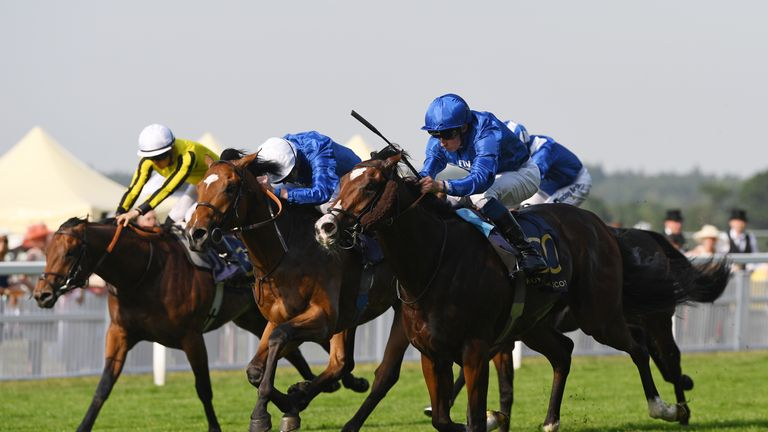 Sound And Silence beats Roussel and James Garfield (left) in the Windsor Castle Stakes at Royal Ascot.