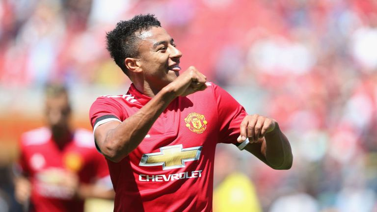 Jesse Lingard celebrates after opening the scoring against Real Madrid