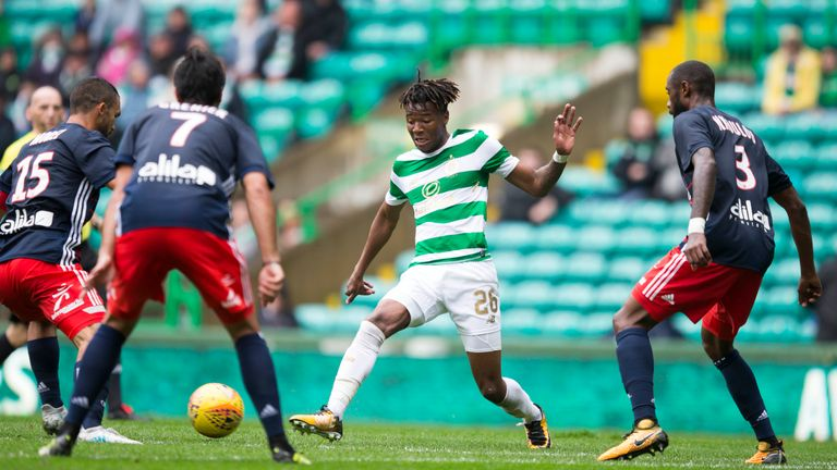 Benyu in action for Celtic in the friendly against Lyon