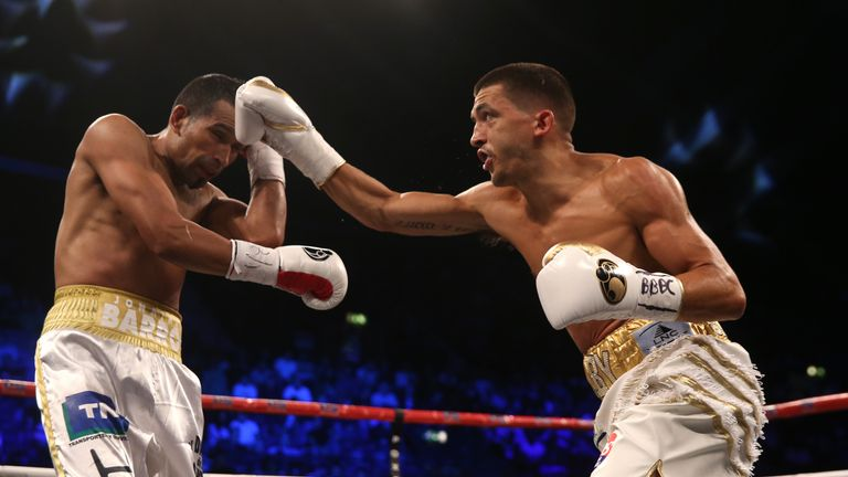 Lee Selby (right) in action against Jonathan Victor Barros during their IBF World featherweight title at Wembley Arena, London.