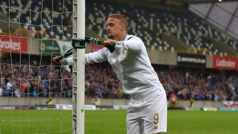 Leigh Griffiths tied a Celtic scarf onto a goalpost which sparked crowd disorder