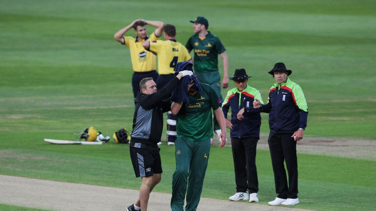Luke Fletcher suffers sickening blow to head in T20 Blast match