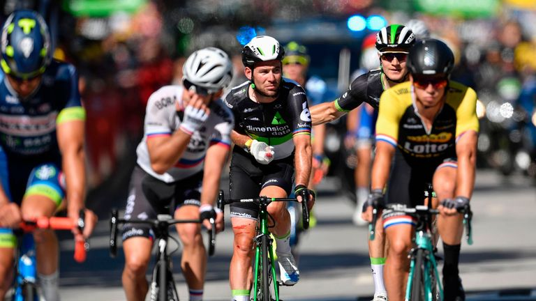 Injured Cavendish heads for hospital after stage four crash