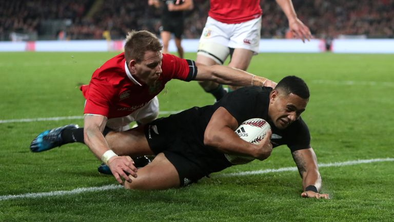 Ngani Laumape scores the All Blacks' first try