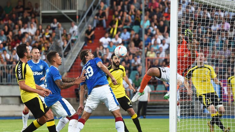 Rangers' Niko Kranjcar (centre) headers the ball off the bar