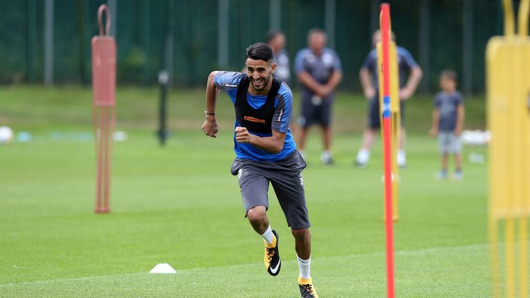 Leicester's Riyad Mahrez puts in the hard yards