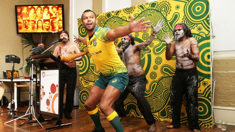 Kurtley Beale dances with performers during Monday's Wallabies Indigenous Jersey Launch in Sydney