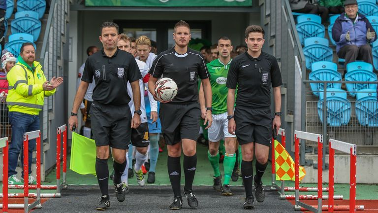 Atkin began his refereeing career in 1999 and currently officiates in the National League South and other divisions on the football pyramid
