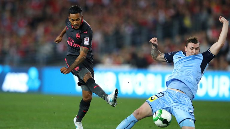 Theo Walcott takes aim during the first half but was thwarted on numerous occasions