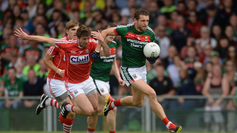 Tom Parson of Mayo in action against Tomas Clancy of Cork