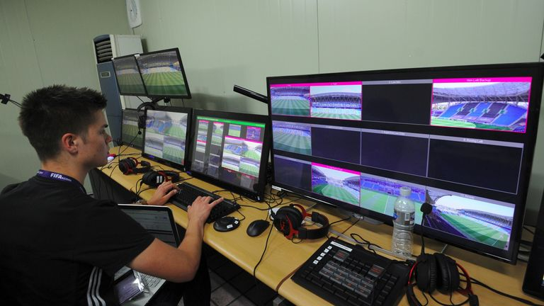 Video assistant members check monitors at a video operations room ahead of the FIFA U20 World Cup