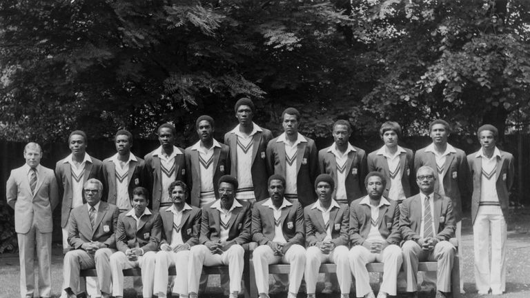 The West Indies touring team of 1980, including Holding - back row, fourth from left