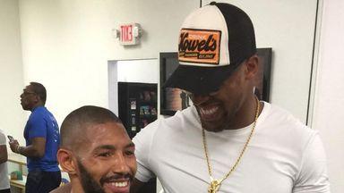 Ashley Theophane catches up with Anthony Joshua at the Mayweather Boxing Gym in Las Vegas (Instagram @ashleytheophane)