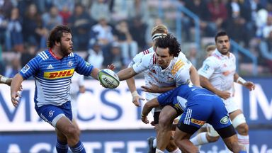 James Lowe looks to offload out of the tackle against the Stormers