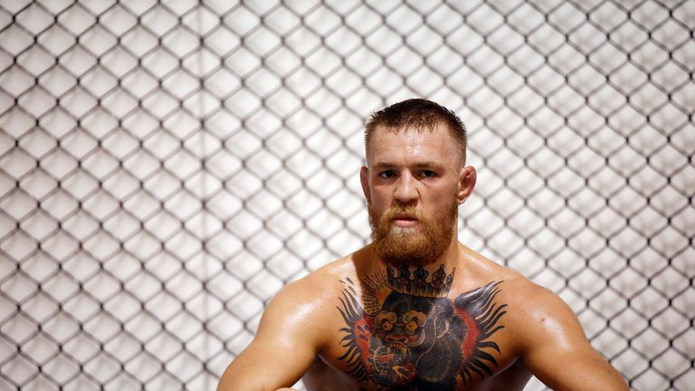 LAS VEGAS, NV - AUGUST 12:  UFC featherweight champion Conor McGregor trains during an open workout at his gym on August 12, 2016 in Las Vegas, Nevada. McG