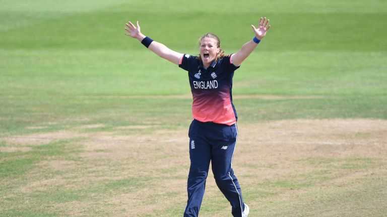 BRISTOL, ENGLAND - JULY 18: Anya Shrubsole of England appeals during the Semi-Final ICC Women's World Cup 2017 match between England and South Africa at Th