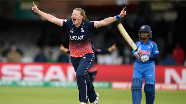 England bowler Anya Shrubsole celebrates after bowling Smrtri Mandhana during the ICC Women's World Cup 2017 Final v INDIA