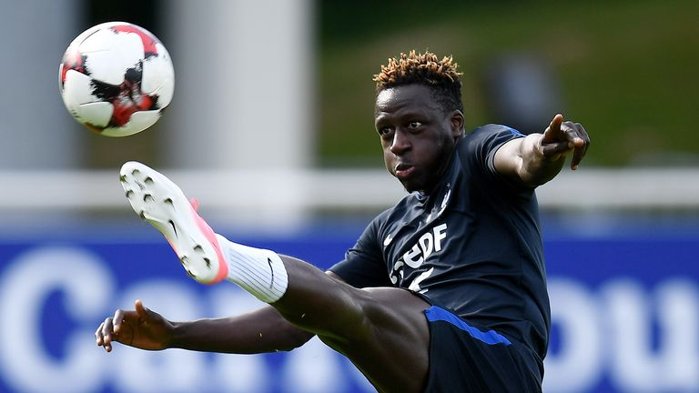 France's defender Benjamin Mendy kicks the ball during a training session in Clairefontaine-en-Yvelines on June 5, 2017 as part of the team's preparation f