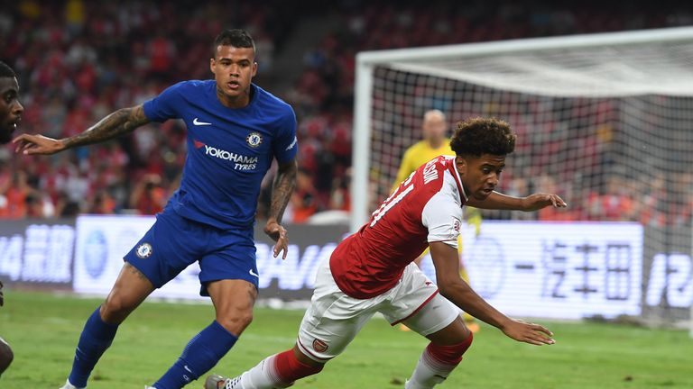 Kenedy in action for Chelsea against Arsenal