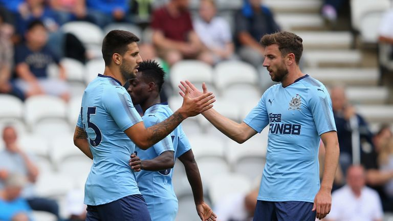 Aleksandar Mitrovic of Newcastle United celebrates after scoring the opening goal during a pre-season friendly match at Preston