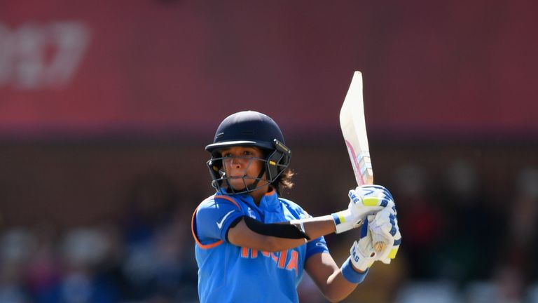 DERBY, ENGLAND - JULY 20:  India batsman Harmanpreet Kaur hits out during the ICC Women's World Cup 2017 Semi-Final match between Australia and India at Th